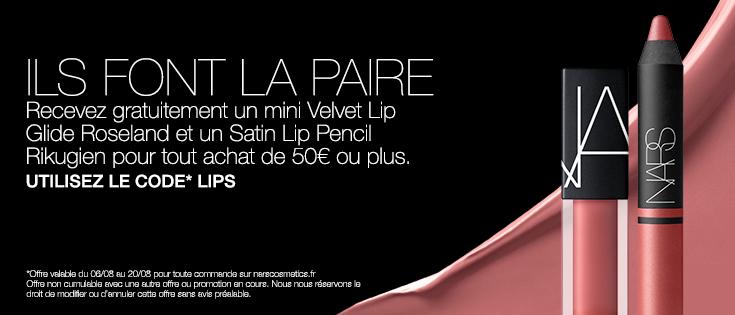 ILS FONT LA PAIRE - Recevez gratuitement un mini Velvet Lip Glide Roseland et un Satin Lip Pencil Rikugien pour tout achat de 50€ ou plus. UTILISEZ LE CODE* LIPS